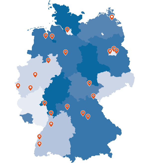 Map of Germany with markings