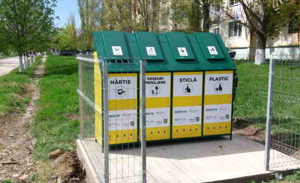 On display are containers for separate waste collection in Anenii Noi, Moldova.