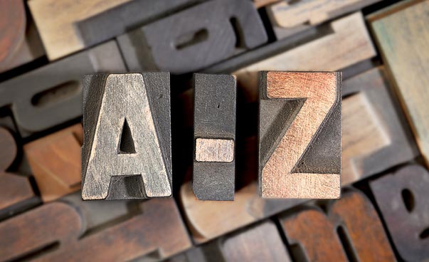 Letters A-Z from the letterpress
